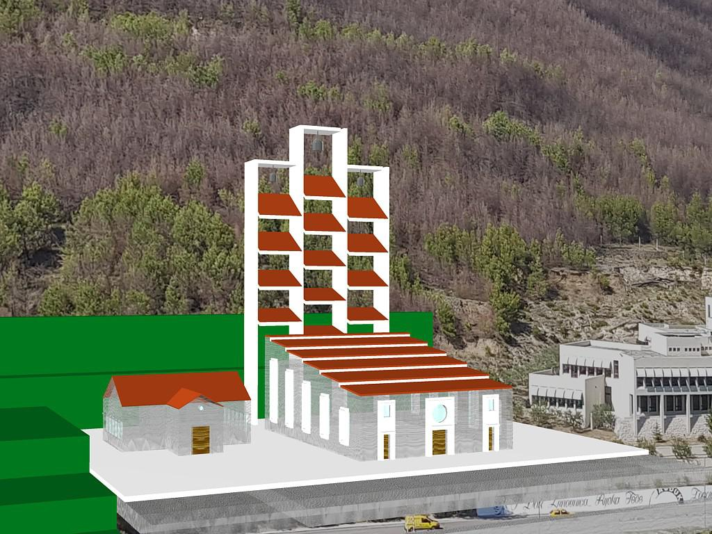 Jedno od idejnih rješenja budućeg izgleda nove crkve na zapadnom rubu Žrnovnice