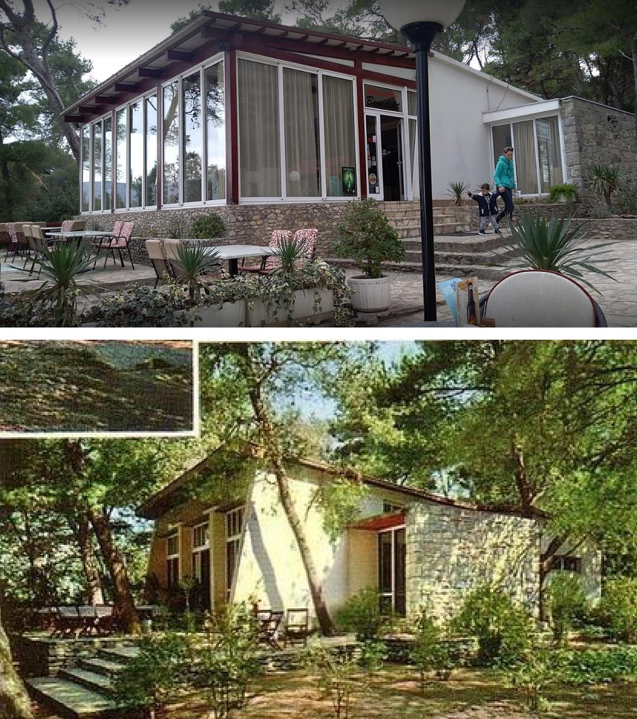 Pogled na restoran 'Benedikt' danas i izvorni izgled objekta s kraja 60-ih godina