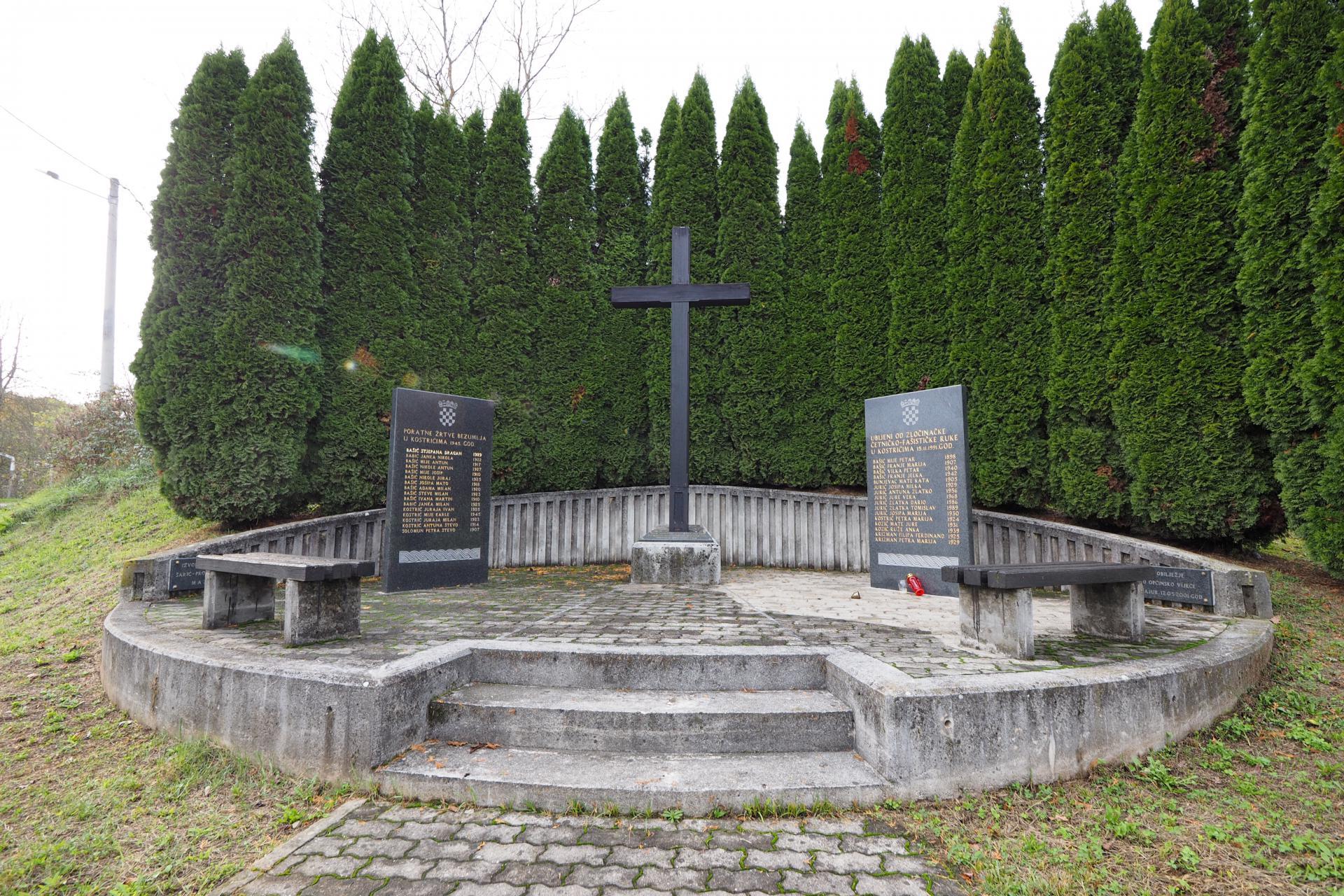 Spomenik u Kostrićima, civilima Hrvatima ubijenima u pokolju 15. studenog 1991.