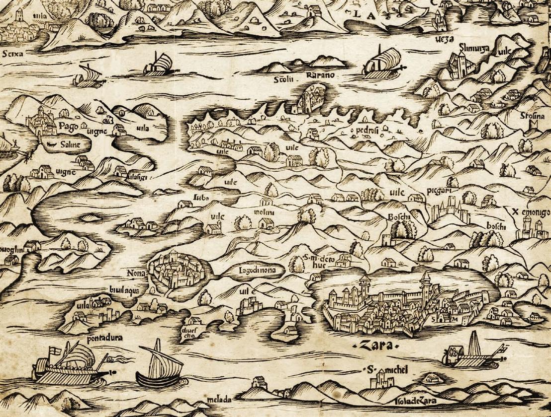 Ljuba na karti zadarske i šibenske regije koju je tiskao M. Pagano, Venecija,četvrto desetljeće 16. stoljeća