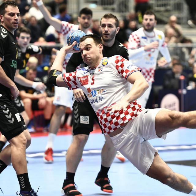 Austrija, Graz, 090120.<br /> Europsko rukometno prvenstvo.<br /> Utakmica skupine A, 1. kola izmedju Hrvatske i Crne Gore.<br /> Na fotografiji: Marino Maric.<br />