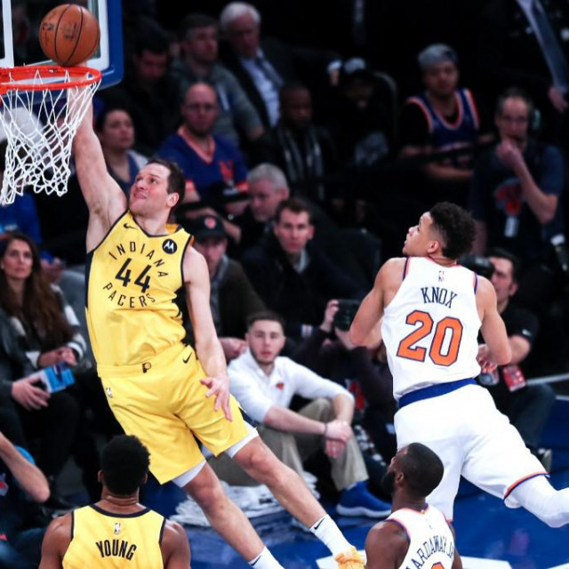 NEW YORK, USA - JANUARY 11: Bojan Bogdanovic (44) of Indiana Pacers in action against Kevin Knox of New York Knicks during the NBA match between Indiana Pacers and New York Knicks at Madison Square Garden in New York, United States on January 11, 2019. Atilgan Ozdil/Anadolu Agency