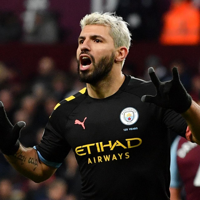 Manchester City's Argentinian striker Sergio Aguero celebrates scoring the fifth goal during the English Premier League football match between Aston Villa and Manchester City at Villa Park in Birmingham, central England on January 12, 2020. (Photo by Paul ELLIS/AFP)/RESTRICTED TO EDITORIAL USE. No use with unauthorized audio, video, data, fixture lists, club/league logos or 'live' services. Online in-match use limited to 120 images. An additional 40 images may be used in extra time. No video emulation. Social media in-match use limited to 120 images. An additional 40 images may be used in extra time. No use in betting publications, games or single club/league/player publications./