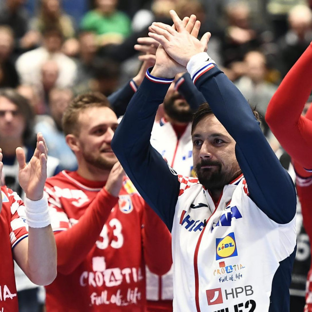 Austrija, Graz, 110120.<br /> Europsko rukometno prvenstvo.<br /> Utakmica skupine A, izmedju Hrvatske i Bjelorusije.<br /> Na fotografiji: slavlje igraca Hrvatske.<br />