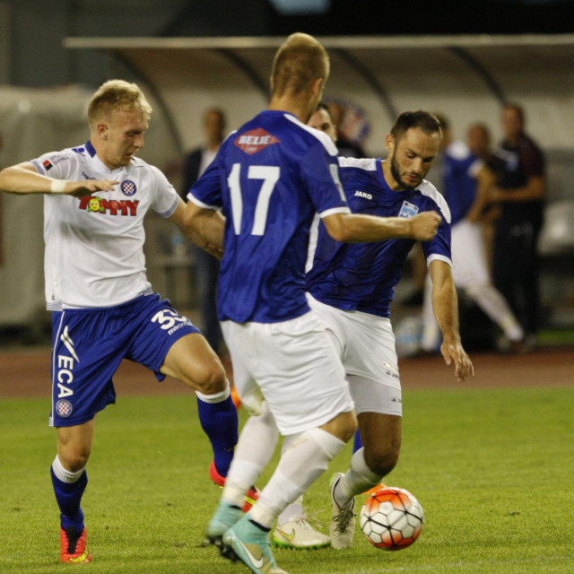 Split, 230815.<br /> Stadion u Poljudu.<br /> Utakmica 7. kola MAXtv Prve lige izmedju HNK Hajduk i NK Osijek.<br /> Na fotografiji: Tomislav Kis.<br />