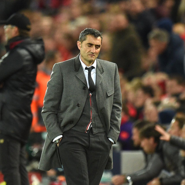 (FILES) In this file photo taken on May 07, 2019 Barcelona's Spanish coach Ernesto Valverde reacts during the UEFA Champions league semi-final second leg football match between Liverpool and Barcelona at Anfield in Liverpool, north west England on May 7, 2019. - Barcelona are set to sack their coach Ernesto Valverde, according to reports in the Spanish press. Valverde took training on January 13, 2020 but his future looks bleak, with the club expected to announce his departure following a board meeting in the afternoon at Camp Nou. (Photo by Oli SCARFF/AFP)