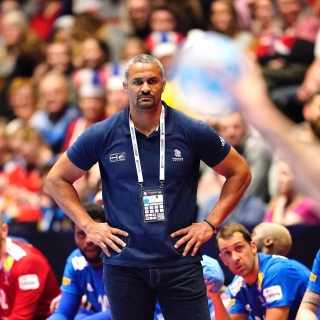 France coach Dinart Didier follows the action from the sidelines during the match France vs Portugal at the Men´s Handball European Championship preliminary round in Trondheim, Norway, on January 10, 2020. (Photo by Ole Martin Wold/various sources/AFP)/Norway OUT