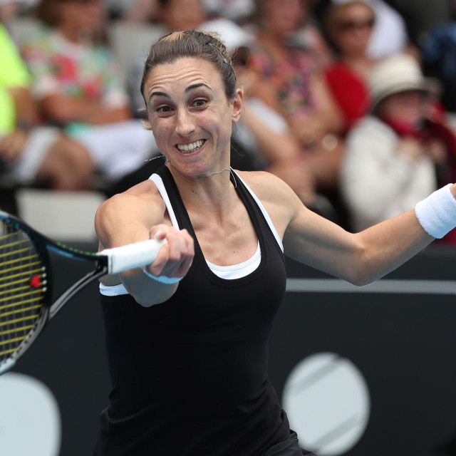 Petra Martic of Croatia hits a return against Alize Cornet of France during their women's singles second round match during the Auckland Classic tennis tournament in Auckland on January 8, 2020. (Photo by MICHAEL BRADLEY/AFP)