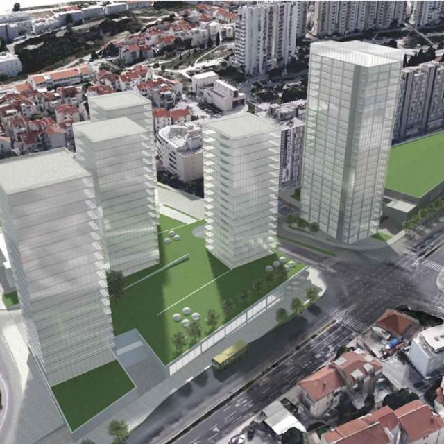 Izgled planiranih nebodera u postojećem prostoru Mertojaka i Trstenika