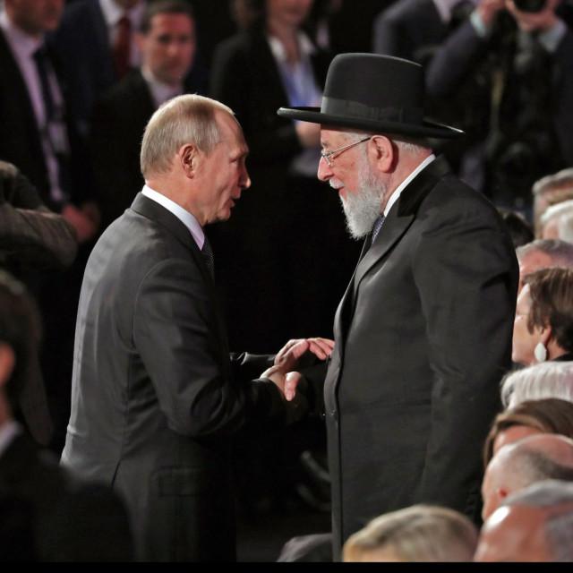 Vladimir Putin i rabin Meir Lau na 5. svjetskom forumu holokausta u Yad Vashemu