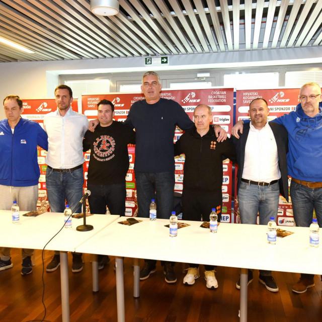 Konferencija za medije povodom zavrsnice Kupa Kresimira Cosica u konferecnijskoj dvorani SRC Visnjik. Sudjelovali su treneri Final EIGHT osam najboljih momcadi natjecanja.<br />