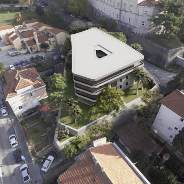Računalna simulacija izgleda planirane zgrade sa sjeverozapadne strane Tvrđave Gripe
