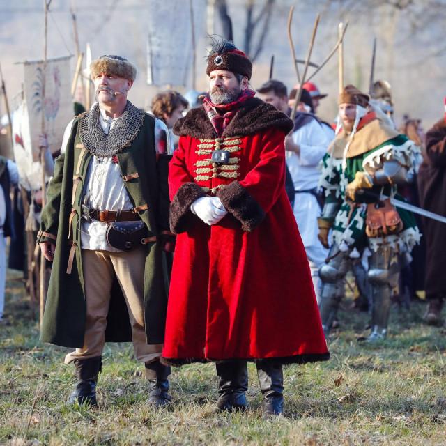 Donja Stubica, 080220.<br /> Rekonstrukcija povijesne bitke kod Stubice. Seljacka buna rekonstruirana je od strane Druzbe vitezova Zlatnog Kaleza.<br /> Na fotografiji: bitka.<br />