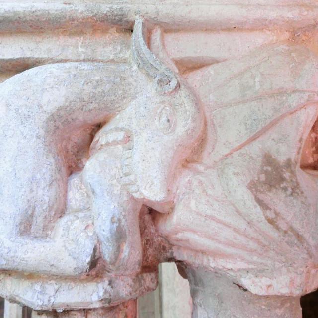 Na kapitelima klaustra samostana Male braće predočene su i domaće životinje.