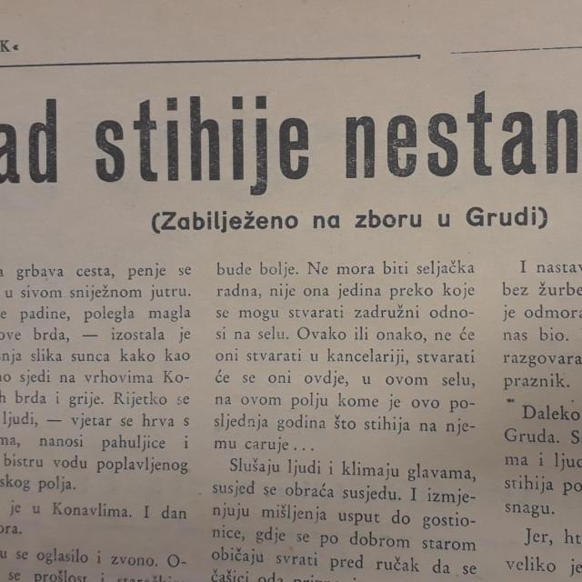 """""""Kad stihije nestane..."""", Dubrovački vjesnik, 7. ožujka 1958."""
