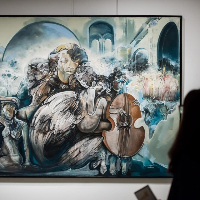 Zadar, 240220.<br /> U Knezevoj palaci otvorena izlozba slika kosovarskog umjetnika i profesora na Sveuculistu u Pristini - Suada Rame pod nazivom 22.<br />