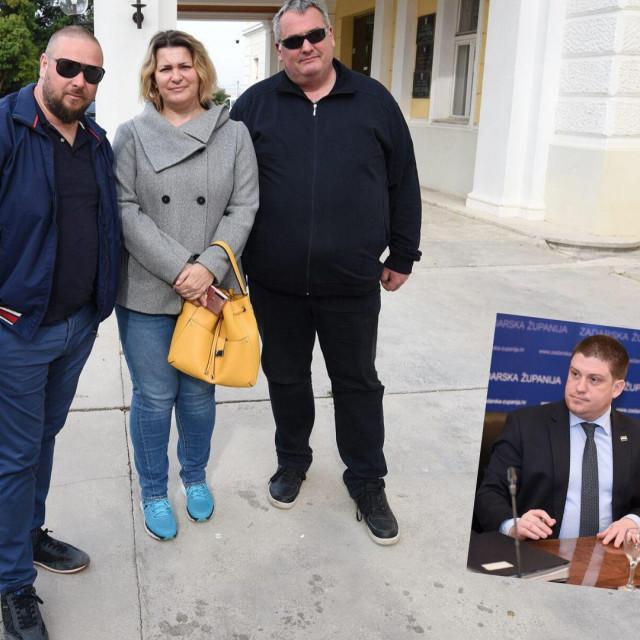 Premujani Franko Jadrošić, Lea Grdović i Veljko Žuvanić upali su na službeni sastanak župana Longina i ministra Olega Butkovića zahtijevajući novi kabel