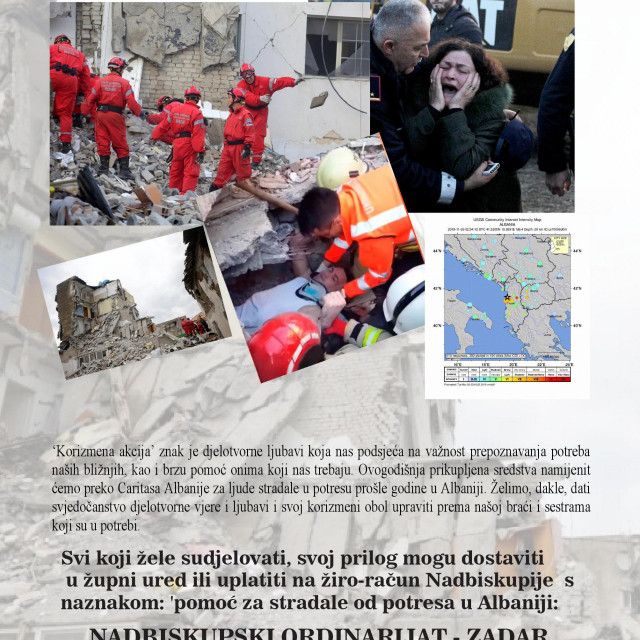 Korizmena akcija Zadarske nadbiskupije za pomoć stradalima od potresa u Albaniji