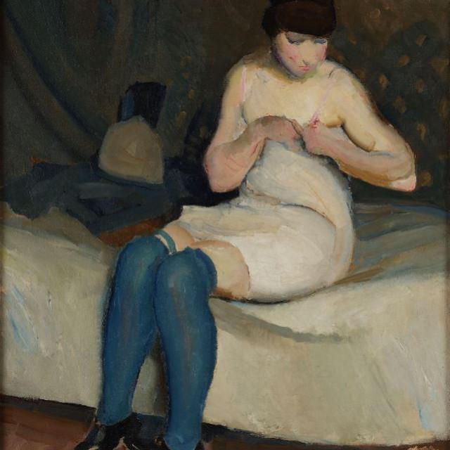 Miroslav Kraljević Djevojka u modrim čarapama 1912.<br />