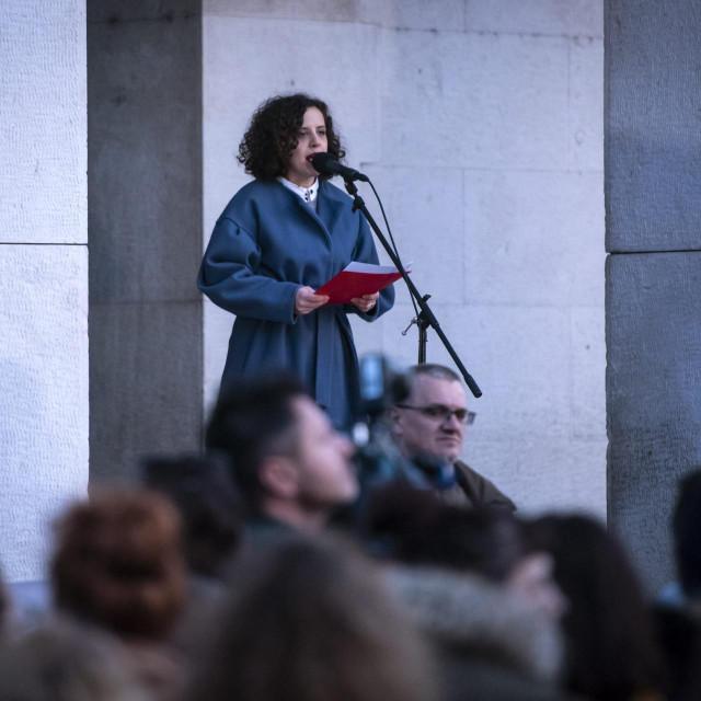 Zagreb, 080320.<br /> Feministicki kolektiv fAKTIV odrzao je Nocni mars 8. mart, prosvjedni mars koji se u Zagrebu odrzava petu godinu za redom. Prosvjed se odrzao pod sloganom Zivio feminizam zivio 8. mart.<br />