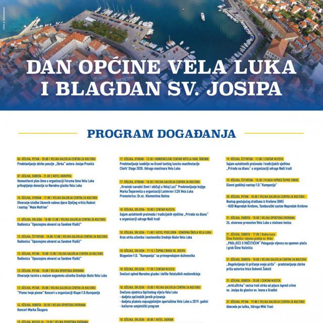 Mjesec ožujak na otoku je tradicionalno rezerviran za obilježavanje i proslavu Dana općine Vela Luka i blagdana zaštitnika sv. Josipa