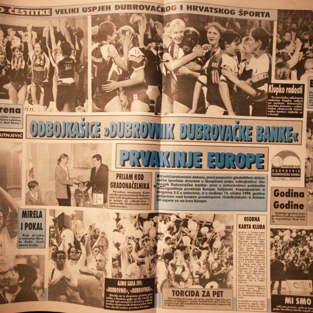 Odbojkašice Dubrovnik Dubrovačke banke su 15. ožujka 1998. gpdine osvojile naslov prvaka Europe