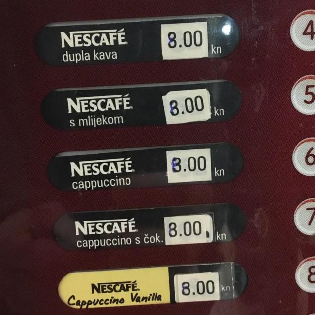Promjena cijena na automatu za kavu na Relji 2