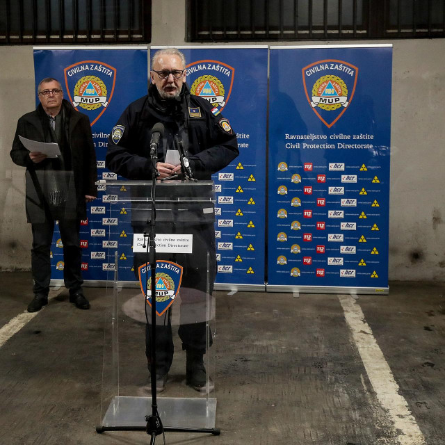 Zagreb, 250320.<br /> Konferencija za medije Nacionalnog stozera civilne zastite oko korona virusa odrzana je u Ravnateljstvu civilne zastite.<br /> Na fotografiji:Krunoslav Capak, Davor Bozinovic.<br />