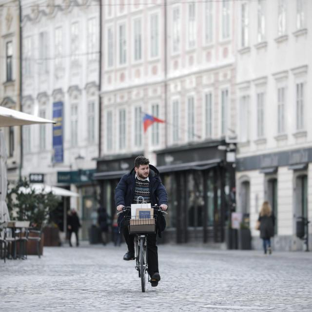 Ljubljanske ulice prazne za vrijeme epidemije koronavirusom.<br />