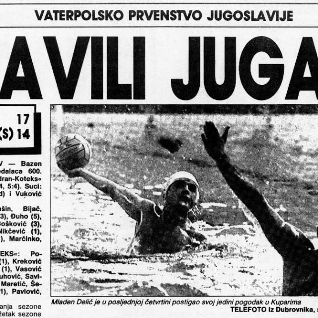Tako je bilo u Kuparima 7. travnja 1990. godine - 17. kolo Prve lige bivše države: Jug - Jadran Koteks 17:14