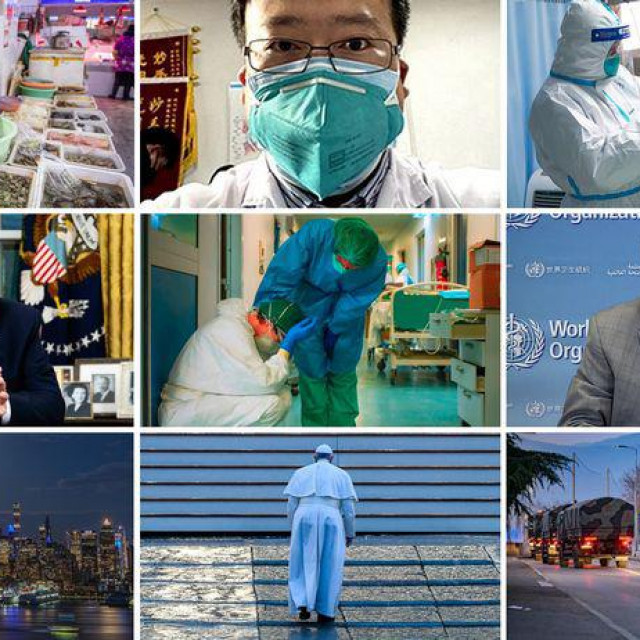 Pamtljivi prizori tijekom globalne pandemije koronavirusa, na slici Li Wenliang (gore u sredini), Donald Trump (lijevo), Tedros Adhanom Ghebreyesus (desno) i papa Franjo (dolje)