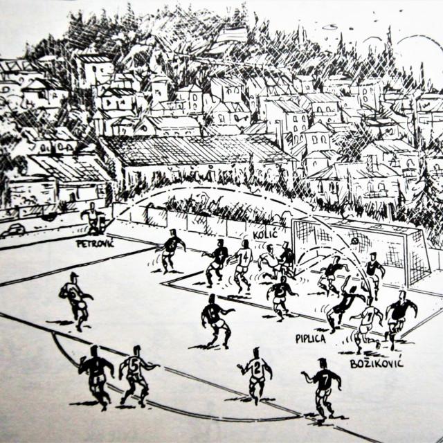 Prvi povijesni prvoligaški pogodak Dubrovnika ilustrirao je poznati hrvatski karikaturist iz Splita Tonči Kerum (1953.-2002.)
