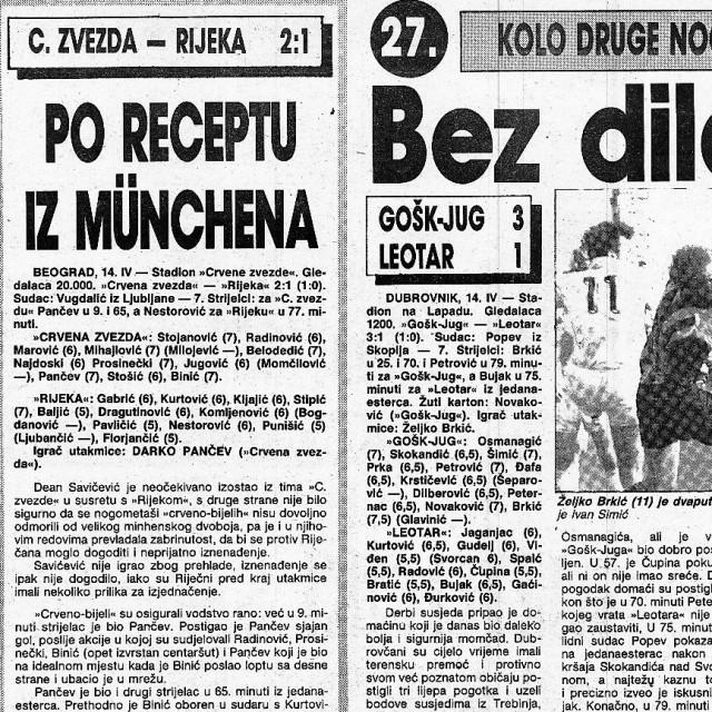 Zadnji prvenstveni ogled GOŠK Juga i Leotara odigran je u 27. kolu Druge savezne lige u nedjelju, 14. travnja 1991. godine na Lapadu. GOŠK Jug je slavio s 3:1