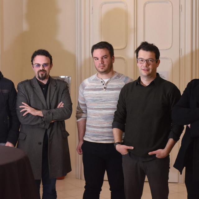 Na fotografiji: Boris Krneta, blagajnik, Mario Zupanovic, umjetnicki ravnatelj, Andrej Fric, predsjednik udruge, Nebojsa Slijepcevic, redatelj i Ivica Perinovic, filmski publicist.<br />