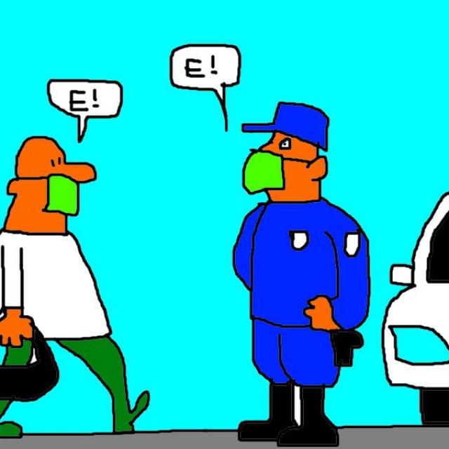 'E-propusnica u Dalmaciji' solinskoga slikara, pankera i strip-autora Vinka Barića, jedna od nekoliko autorovih šala na račun pandemije