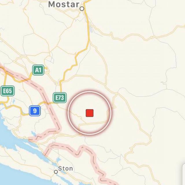 Potres se poslijepodne dogodio u jugoistočnoj Hercegovini