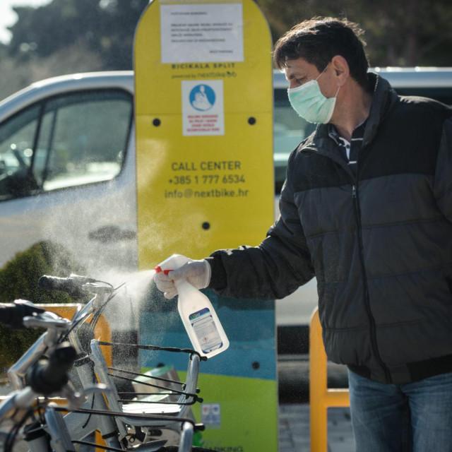 Dezinfekcija bicikla na Žnjanu