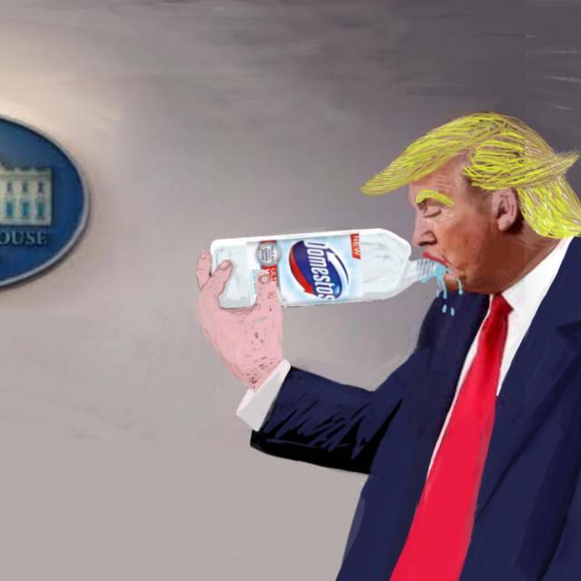 Poznati splitski umjetnik Neno Mikulić napravio je za 'Slobodnu' prikaz Trumpa koji se 'nalijeva' Domestosom