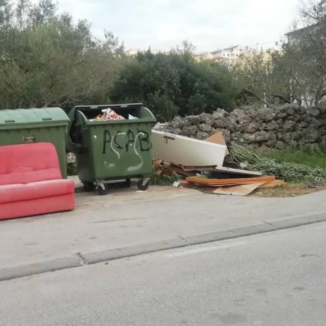 Krupni otpad i zelenilo gomilaju se uz kontejnere za mješoviti otpad<br />