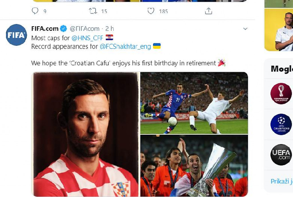 Čestitka FIFA-e putem Twittera: Nadamo se da hrvatski Cafu uživa u svom prvom rođendanu u mirovini!
