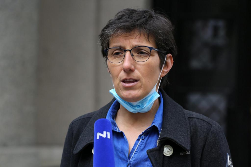 Predsjednica Sindikata novinara Hrvatske Maja Sever<br /> <br />