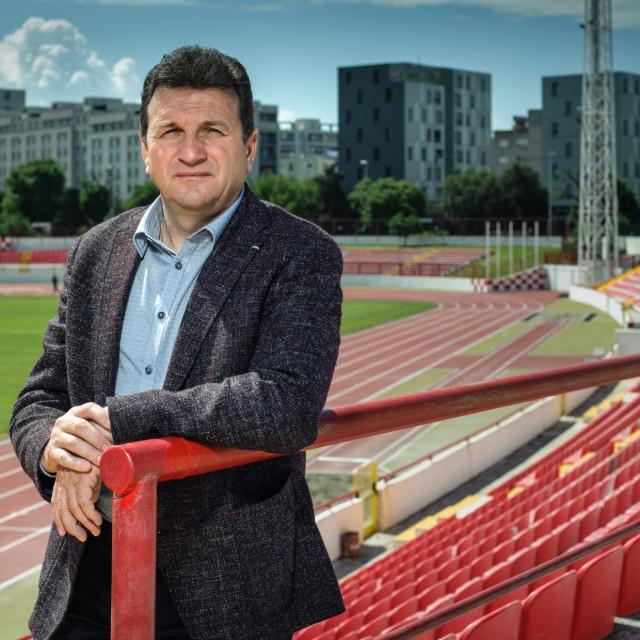 Split, 220519.<br /> Slaven Zuzul, direktor tvrtke Skladgradnja i predsjednik RNK Split pozira na stadionu Park mladezi.<br />