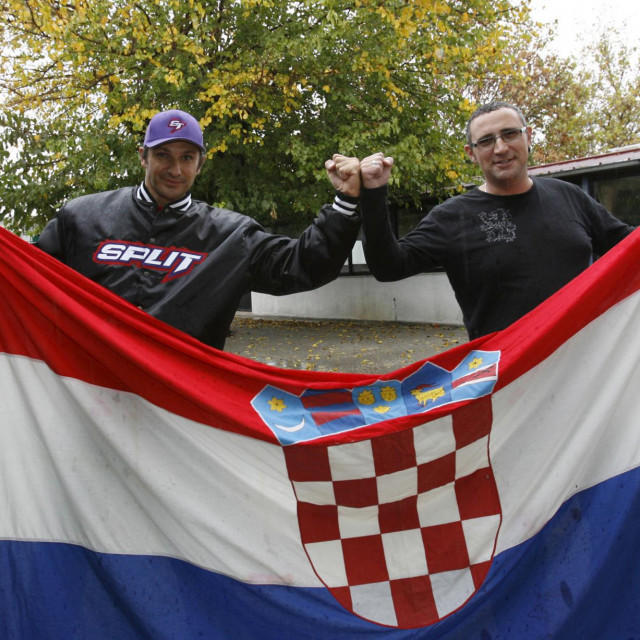 Sergije Vujnovic i Slavko Vladusic navijaci Hajduka koji su 1991. prisustvovali utakmici finala Kupa Jugoslavije između Crvene zvezde i Hajduka