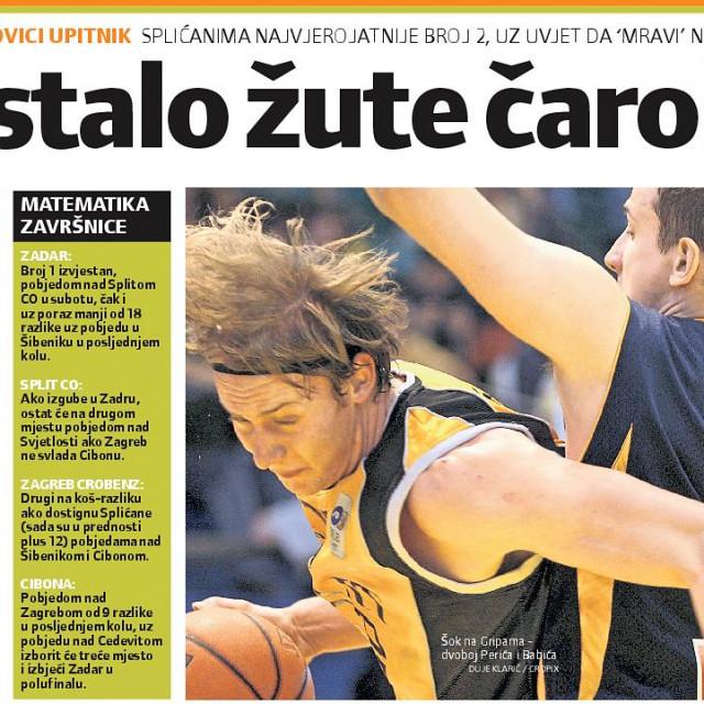 Hrvoje Perić, na slici, predvodio je splitske žute 2008. godine u porazu od Zagreba za kojeg je igrao Ante Tomić (Slobodna Dalmacija, izvještaj s utakmice odigrane 9. svibnja 2008. godine)