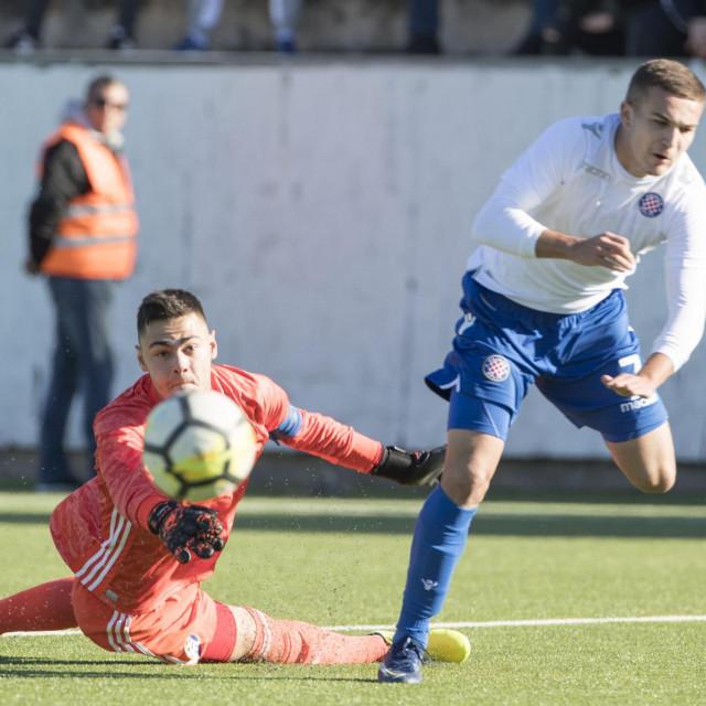 Split,151219<br /> Stadion u Poljudu Prva HNL - juniori utakmica HNK Hajduk - GNK Dinamo.<br /> Na fotografiji: Renato Josipovic i Ivan Brnic.<br />