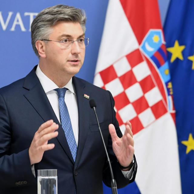 Zagreb, 270520<br /> Banski dvori.<br /> Izvanredna konferencija za medije premijera Andreja Plenkovica.<br />