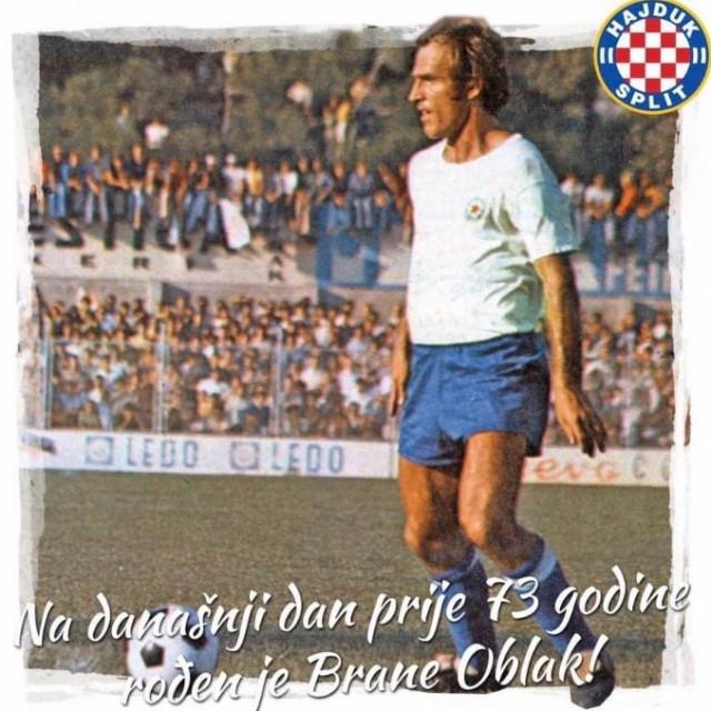 Hajduk je uputio čestitku Brani Oblaku