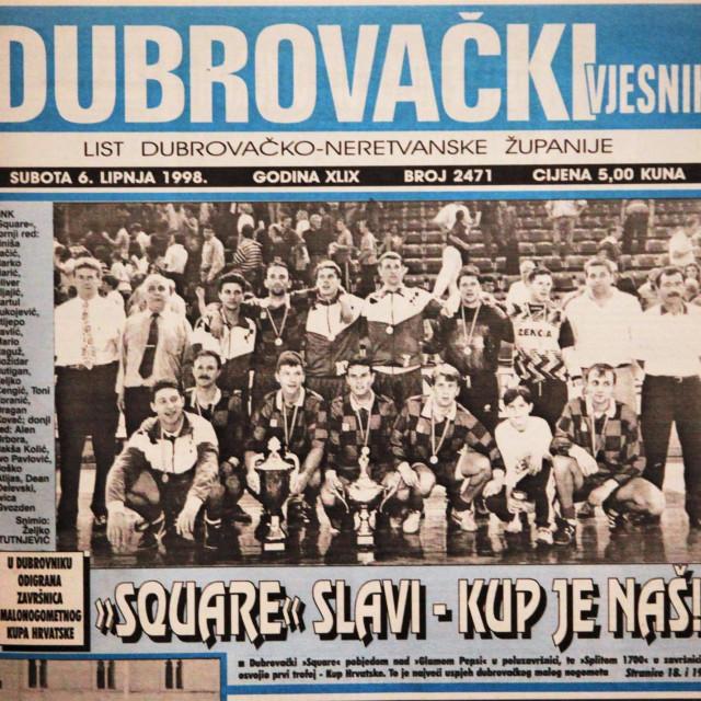 Square je osvajanjem Kupa Hrvatske 30. svibnja 1998. godine osvojio i naslovnicu Dubrovačkog vjesnika