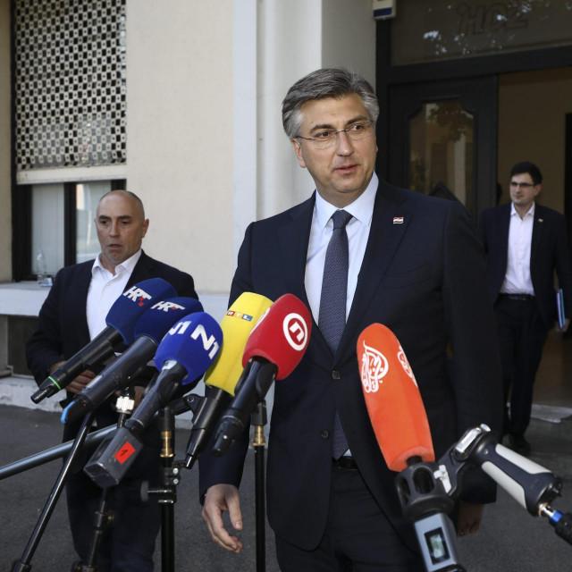 Zagreb, 010620.<br /> Trg zrtava fasizma 4.<br /> Izjava Andreja Plenkovica nakon odrzanog sastanka Predsjednistva HDZ-a.<br />