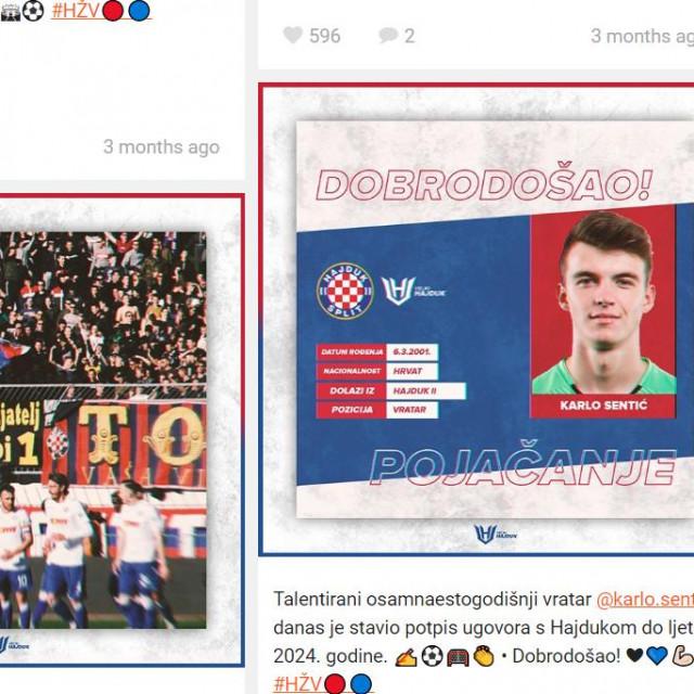 Hajduk živi vječno - vijest na instagramu nakon što je Karlo Sentić potpisao profesionalni ugovor sa splitskim Hajdukom